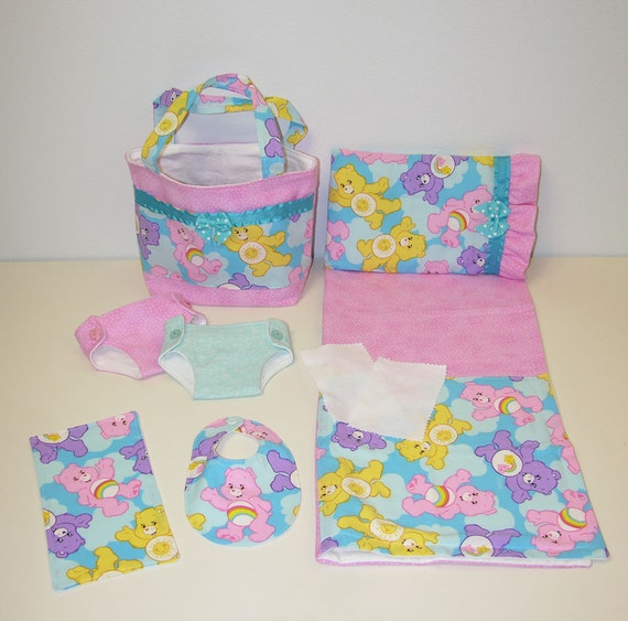 Bitty Baby Basics in Carebears Diaper Bag and Diapers with
