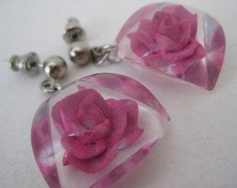 Pink Rose Flower Earrings Dangle Pierced Post Vintage