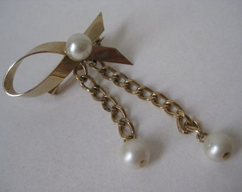 Ribbon Gold Pearl Brooch Dangle Vintage Pin