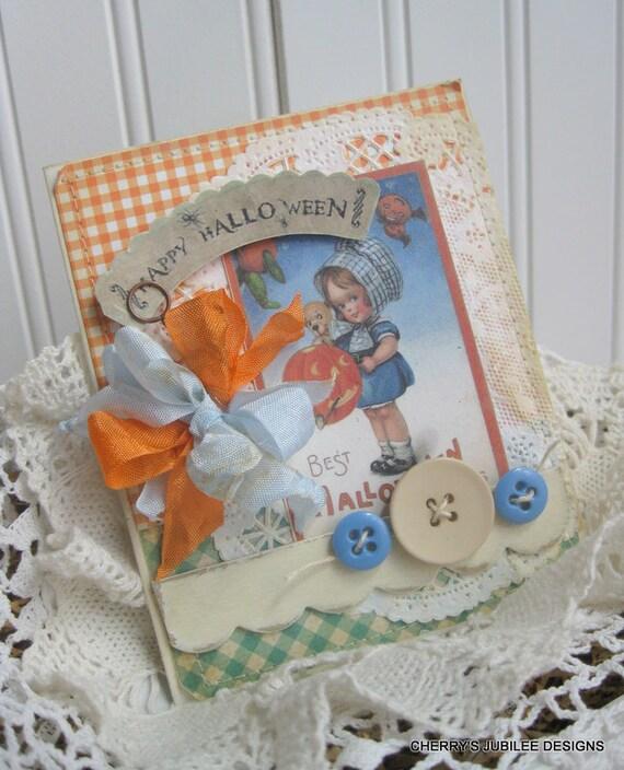 shabby chich halloween little girl and PUPPY pumpkins happy halloween banner stitched handmade card