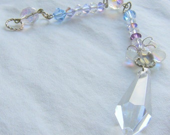 HUES OF BLUES Crystal Ornament, Rearview Mirror Jewel, Suncatcher, Feng Shui jewel