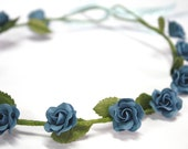 Blue Roses Tiara, Miniature Polymer Clay Flowers Hair Accessories