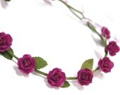 Purple Roses Tiara, Miniature Polymer Clay Flowers Hair Accessories