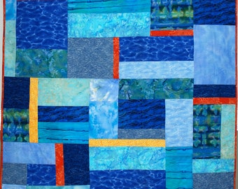 Fiber Art Quilt Water Views Wall Hanging or Throw