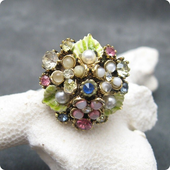 Vintage Ring Flower Bouquet Signed Art R4782