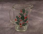 Vintage Glass Holly Leaf Pitcher