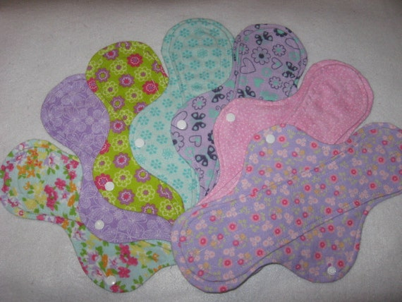 """Cloth panty liners set  of seven 12"""" plus size"""