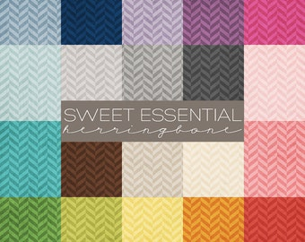 Sweet Essentials 12x12 Herringbone Digital Paper Collection   Great for Scrapbookers or Photographers   20 JPG files Instant Download PE8002