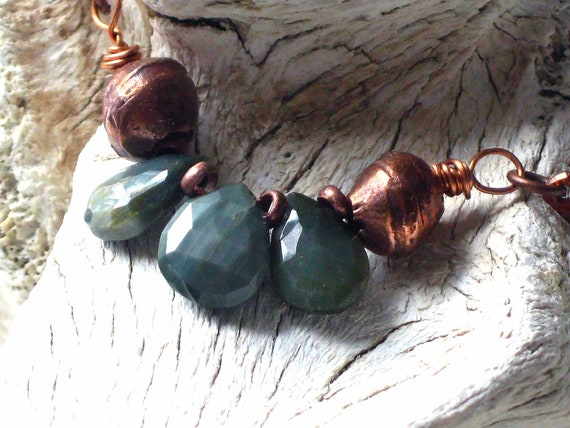 Cat's Eye Necklace - Army Green - Rustic, Tribal, Boho, Bohemian - Gemstone Quartz with Copper African Trade Beads - Hammered Copper Chain