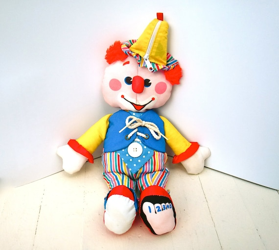 Vintage fisher price dress me clown learning doll 1984 soft for Clown fish price