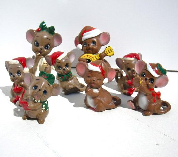 Vintage josef originals christmas mouse figurines family of