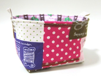 Reversible fabric basket storage bin and organizer - linen sewing notions and heart laces