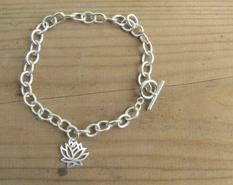 Lotus Bracelet Sterling Silver Cable Link Chain with Toggle Clasp