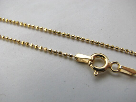 16 inch Gold Plated Ball Chain 1.2mm Diamond Cut Faceted Bead