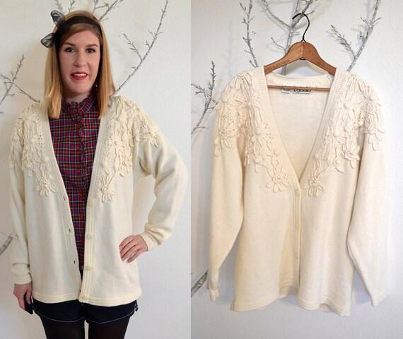 Cream Sweater - Cream Flower Cardigan - Hipster Sweater - Oversized Cardigan size medium large