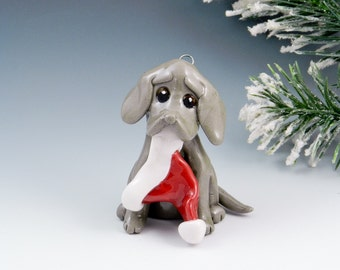 Weimaraner Christmas Ornament Santa Hat Personalized Porcelain