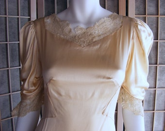 40s Vintage Slipper Satin Wedding Dress in Ivory ON SALE