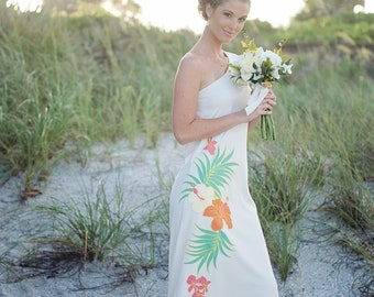 One Shoulder Beach Hawaiian Wedding Dress