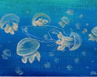 Jellyfish Swarm, 7x5 Original Sea Life Acrylic Painting on Canvas Board