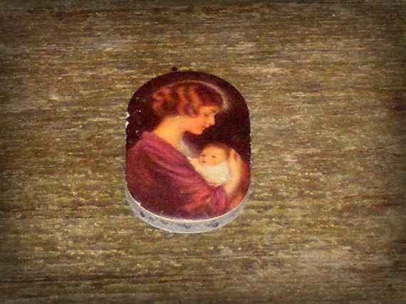 Antique Pin Block with Edwardian Mother and Baby Child Advertising