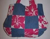 Handmade Pink Hibiscus Denim Patchwork Quilted Purse