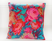 decorative pillow cover, orange teal pink roses flowers, cushion cover 16 inch