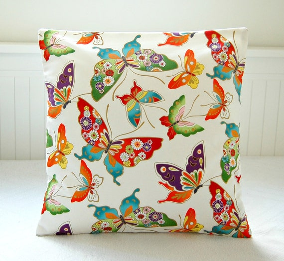 cushion cover butterflies, decorative pillow cover orange green gold blue 16 inch