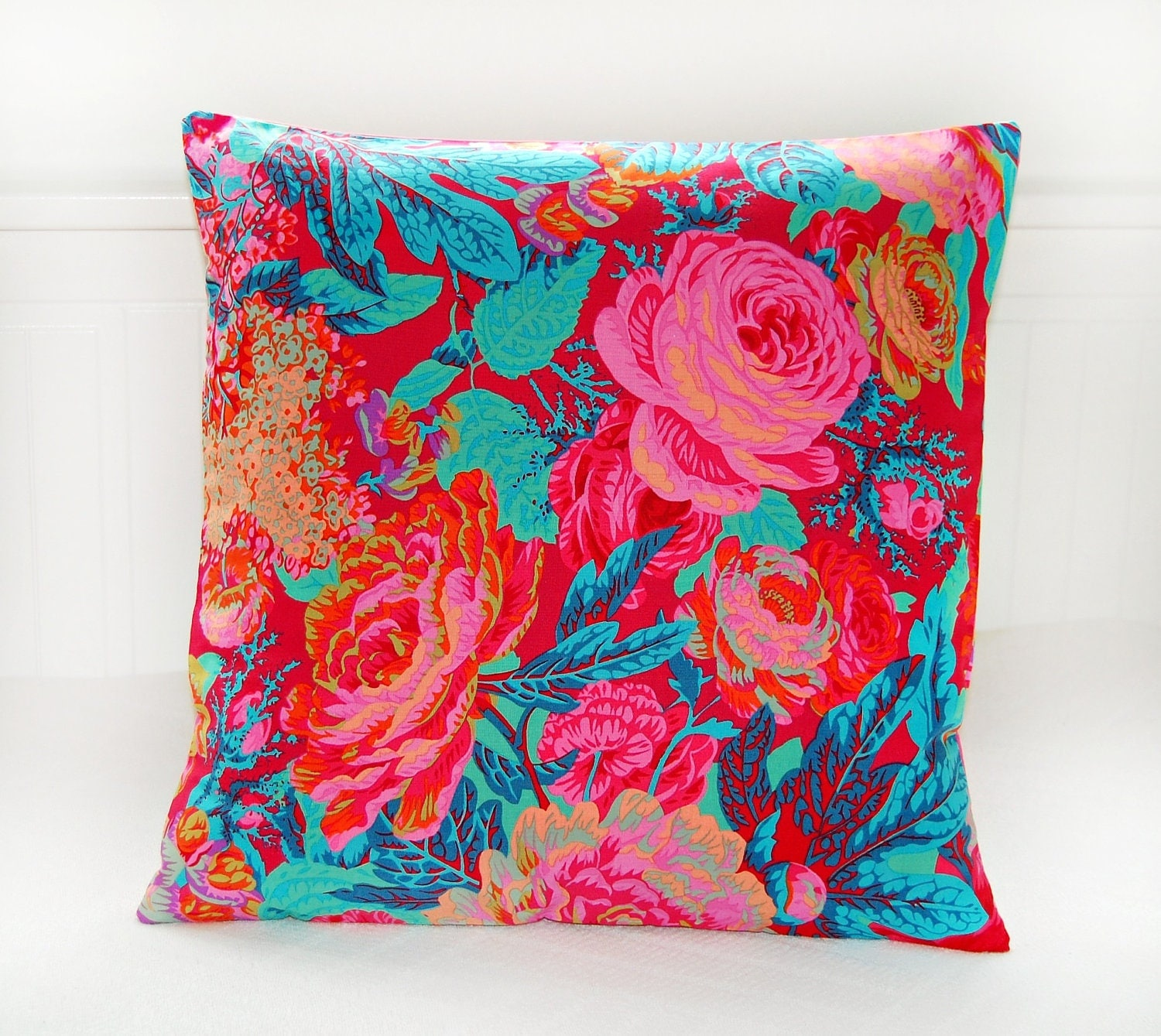 decorative pillow cover orange teal pink roses flowers