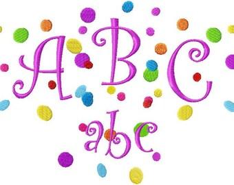 Digital Download 4x4 Confetti Curlz Script Alphabet Party Font Set  Machine Embroidery Designs now in BX too