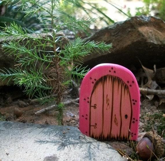 Wooden Fairy Door Fridge Magnet, Gnome Door Magical Portal 2 1/2 inch,  Pink