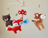 Custom Hanging Woodland Mobile - CHOOSE YOUR ANIMALS - Deer, Bear, Squirrel, Porcupine, Owl, Blue Bird, Fox, Raccoon, Tree, and Mushroom
