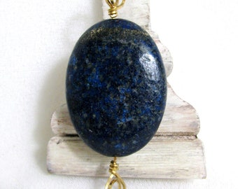 Lapis Lazuli and Brass Pendant RKMixables RKM373