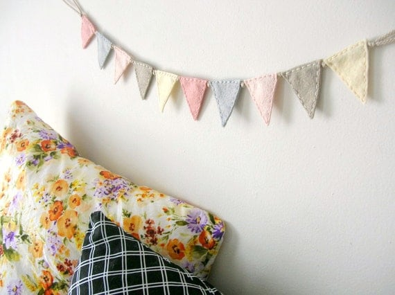 Wee Felt Bunting // Peaches and Neutrals // Soft Nursery Banner Flags by OrdinaryMommy on Etsy