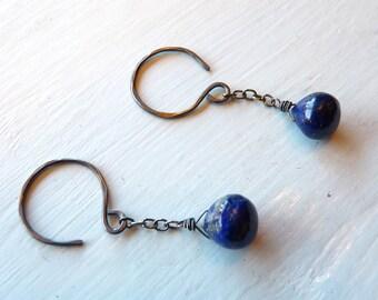 Blue Lapis Lazuli Night Sky Earrings in Oxidized Sterling Silver