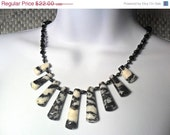 Sale Hand Knotted Zebra Jasper Graduated Necklace with black onyx and hematite Free shipping