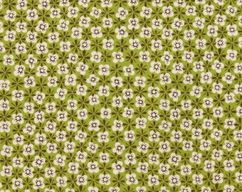 Fabric by the yard Calico Cutey - Chartreuse -cotton fabric - Alexander Henry - 1 yd
