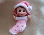 BABY CHRISTMAS ORNAMENT, First Christmas ornament, monkey,  Christmas stocking, polymer clay ornament, personalized baby ornament, baby gift