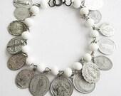 Vintage Religious Catholic Medal Charm Bracelet with White Beads