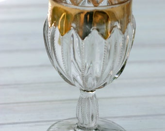 EAPG U.S. Glass Prism Column Beaded Gilded Wine Goblet