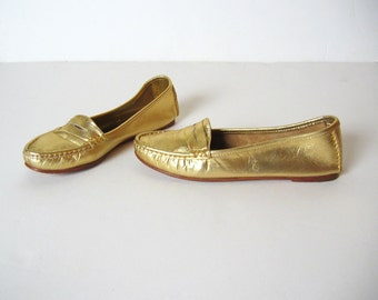 SHOE SALE! GOLD leather loafers, 7