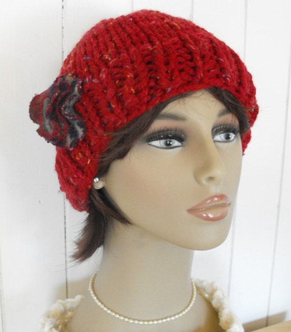 Womens Hand Knitted Beanie Red Hat