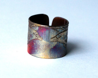 Etched Copper Raven Ring - Adjustable size