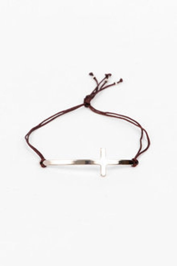 SIDE CROSS bracelet in gold with Sliding Knot Closure