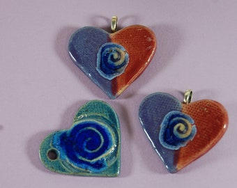 Three Glass Infused Heart Swirl Stamp Focal Pendant J81 Supplies Create Gifts