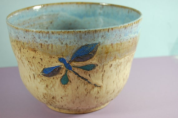 Pottery Bowl Beachside Pottery Large Serving Beach Blue And Sand Glaze Hand Painted Dragon Fly