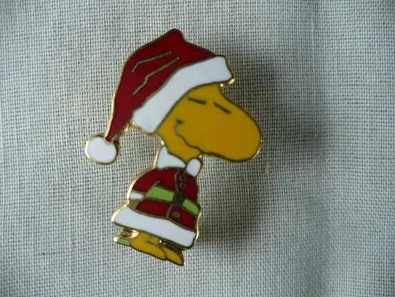 Sale Christmas Woodstock as Santa Claus Pin Yellow Bird Snoopys Best Friend  Rare