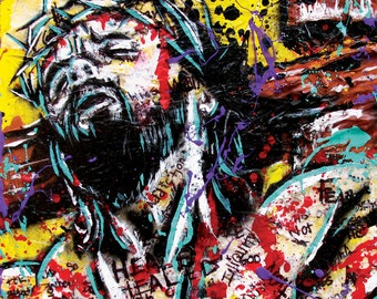 Jesus - Shed Blood -12 x 12 High Quality  Pop Art Print