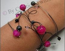 fuschia bracelet, black and fuschia wedding,hot pink jewelry,prom jewelry, swirls bracelet, wedding jewelry,bridesmaid gift,mother days gift