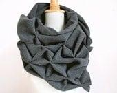 geometric origami wool shawl - superwarm sculptural wrap - triangular 100% wool scarf in grey