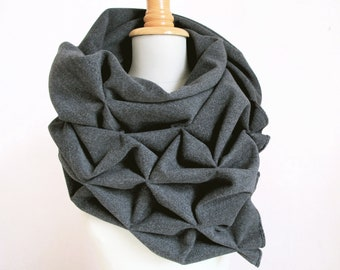 geometric origami wool shawl - superwarm sculptural wrap - triangular 100% wool scarf in grey